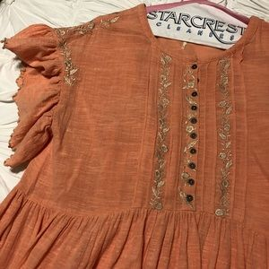 Free People Santiago Embroidered Dress Coral Sz L